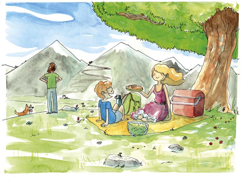 illustratrice montréal - déjeuner sur l'herbe aquarelle
