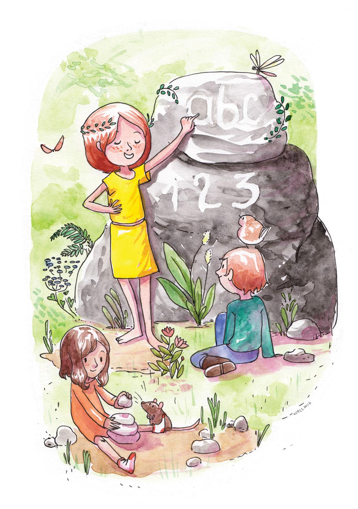 illustratrice montréal - aquarelle droits de l'enfant - droit à l'éducation