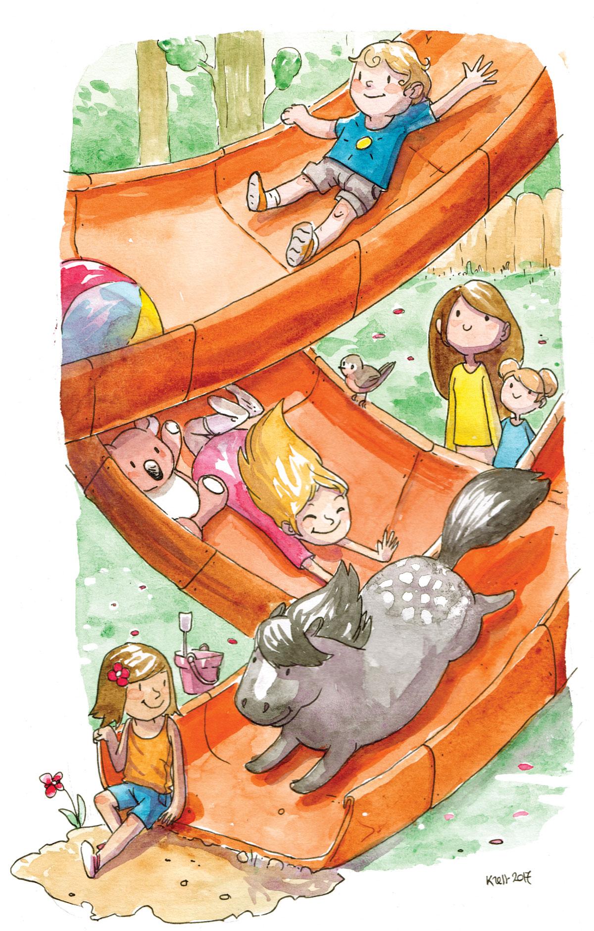 illustratrice montréal - aquarelle droits de l'enfant  - droits aux loisirs