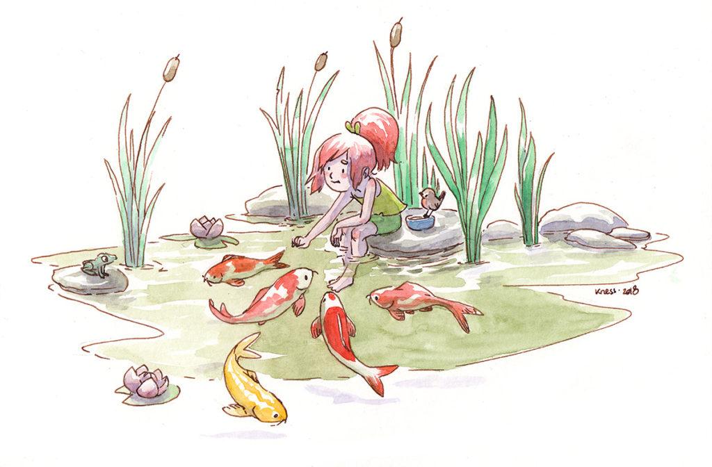 illustration enfant et carpes