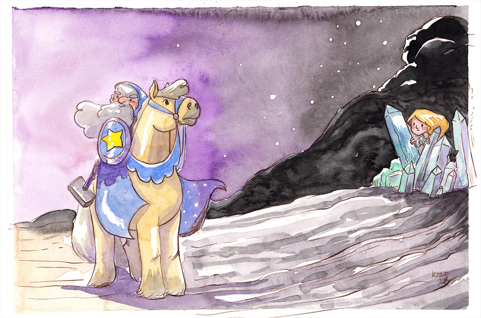 illustration poney chevalier