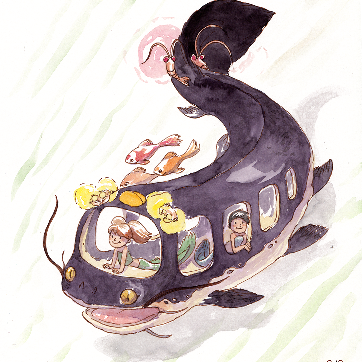 Catfish bus - Poisson-Chat Bus Ghibli Fanart Aquarelle