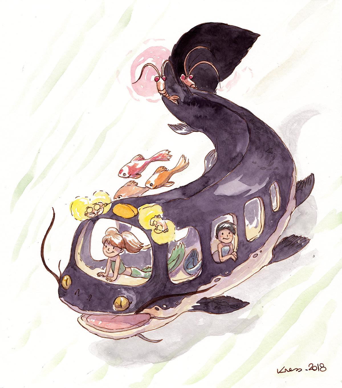 Catfish bus - Poisson-Chat Bus Ghibli Fanart Aquarelle