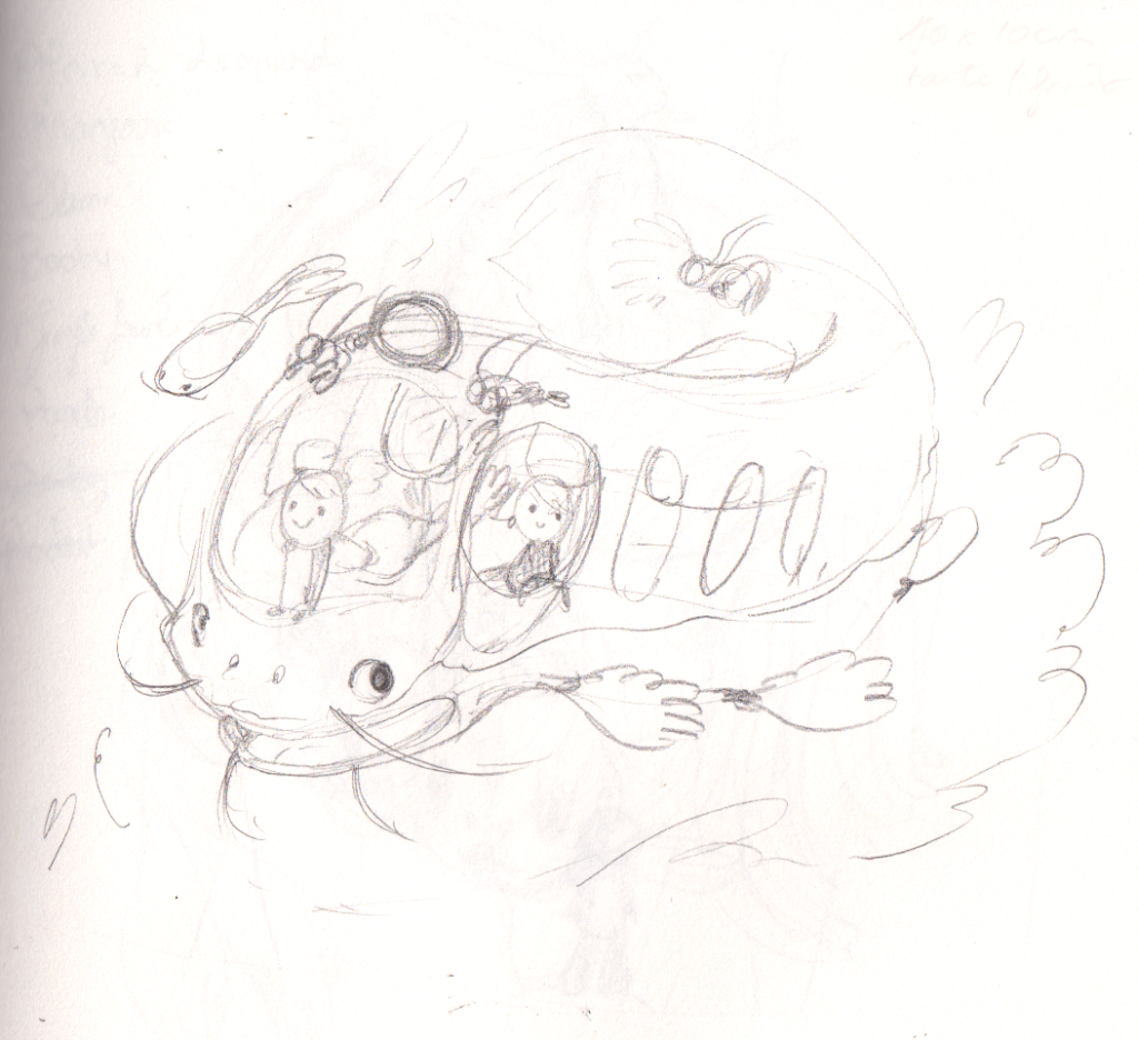 Catfish bus - Poisson-Chat Bus Ghibli Fanart Croquis preliminaire