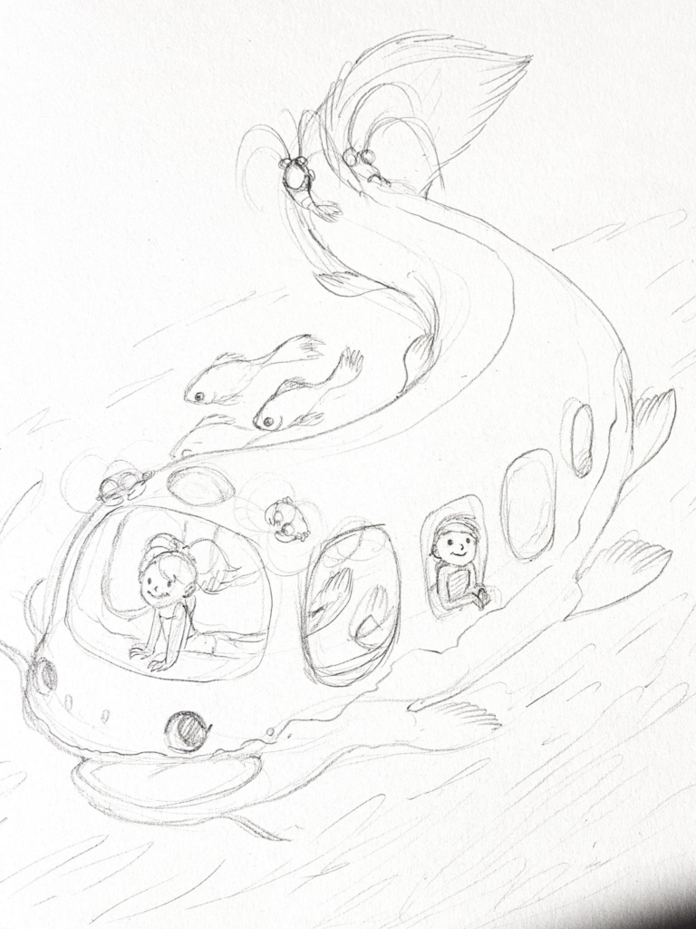 Catfish bus - Poisson-Chat Bus Ghibli Fanart Croquis final