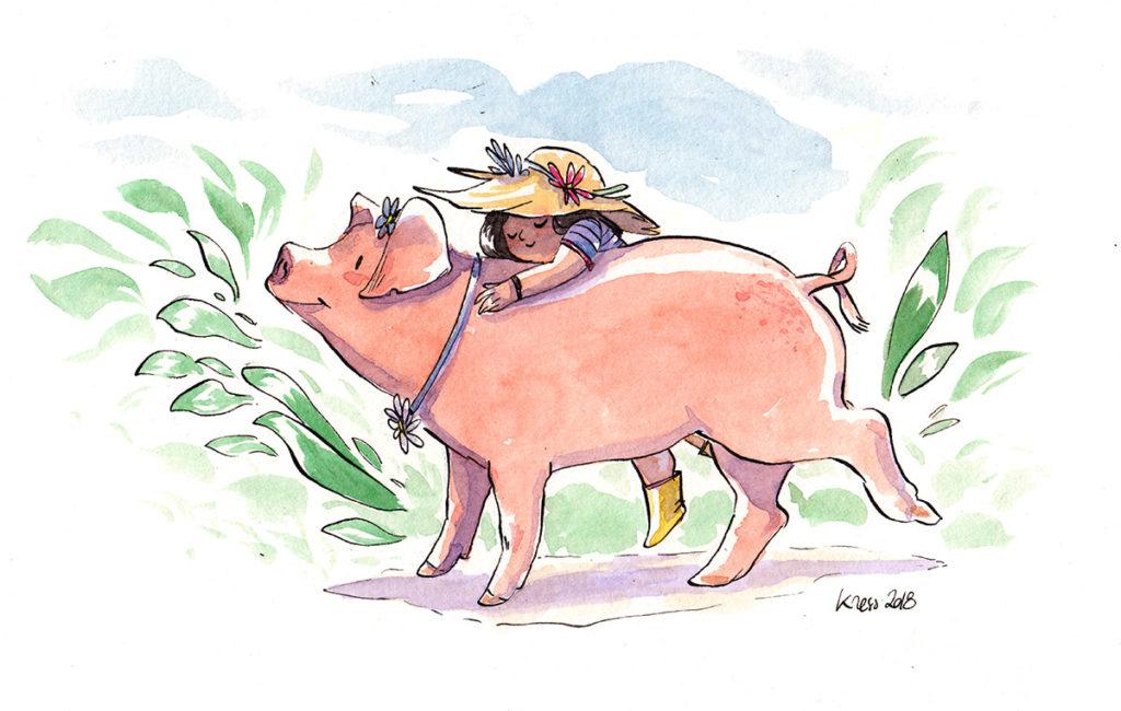 illustration enfant cochon aquarelle