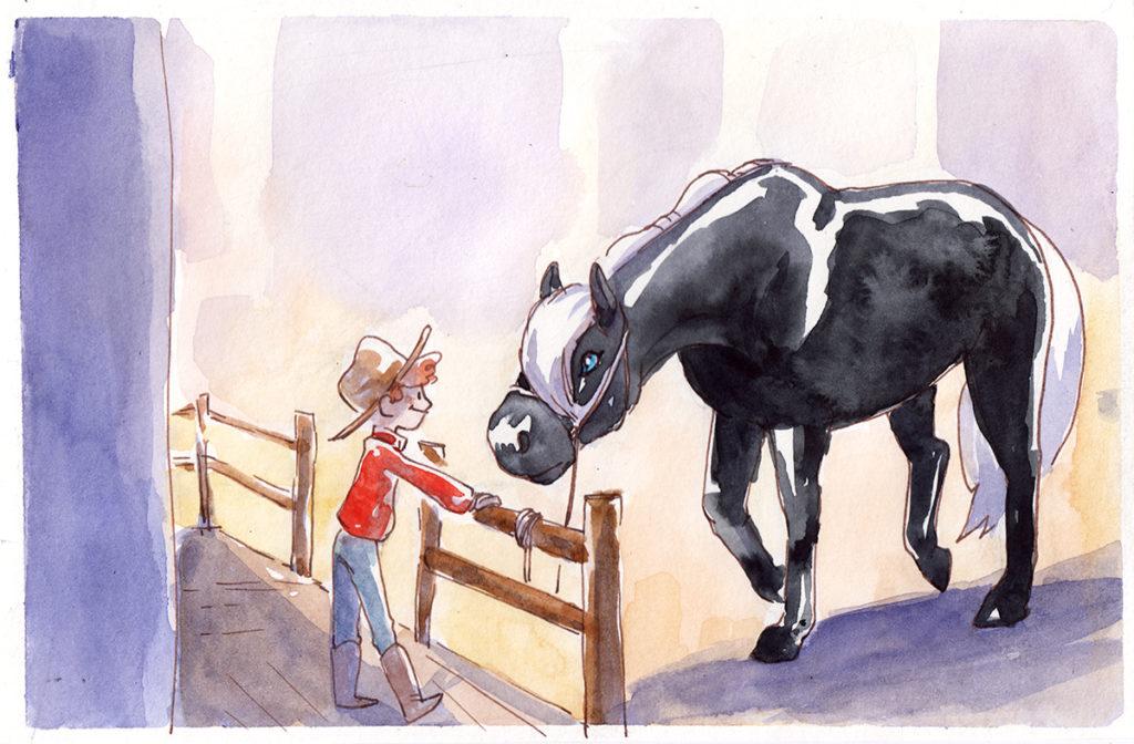 commande illustration cheval noir