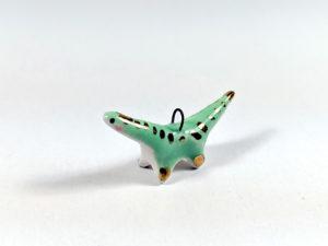 ceramic diplodocus gold pendant