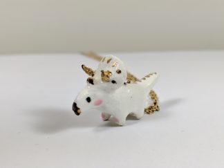 pendentif triceratops ceramique or