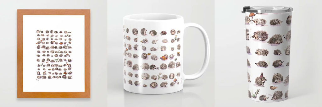 watercolor hedgehog mug