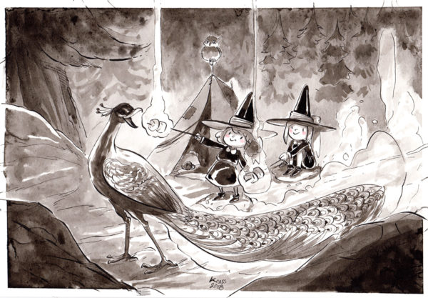 inktober dessin paon peafowl drawing