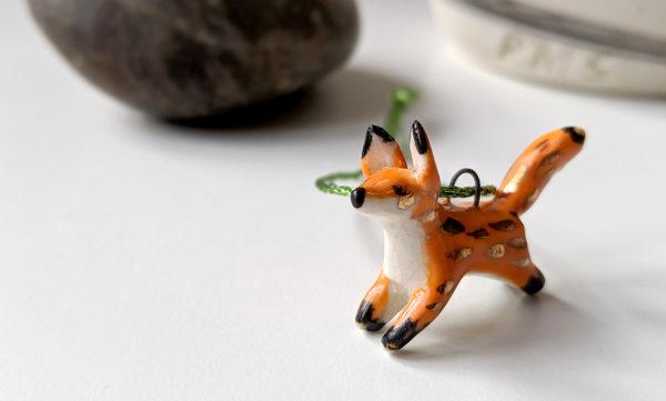 ceramic fox gold pendent