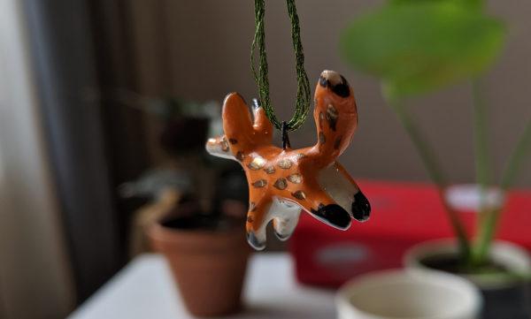 renard ceramique pendentif