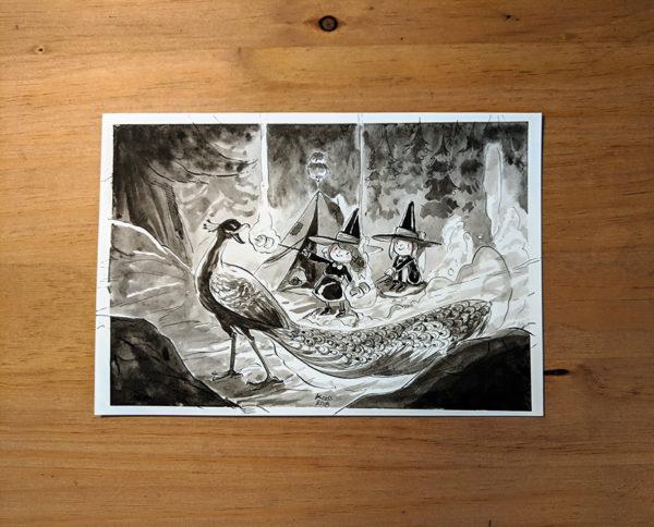 inktober dessin peafowl