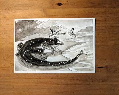 inktober dessin komodo dragon