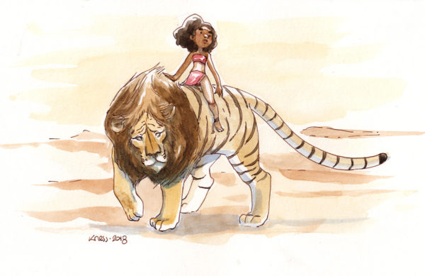 aquarelle enfant lion tigre