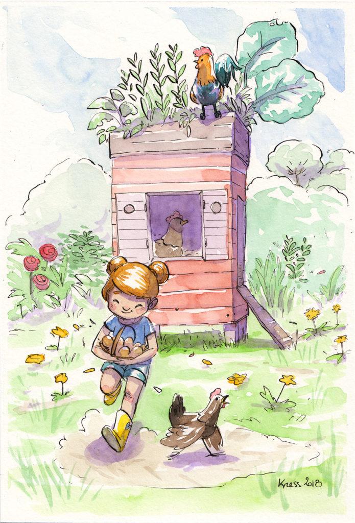 illustration souvenir d'enfance rammasser les oeufs