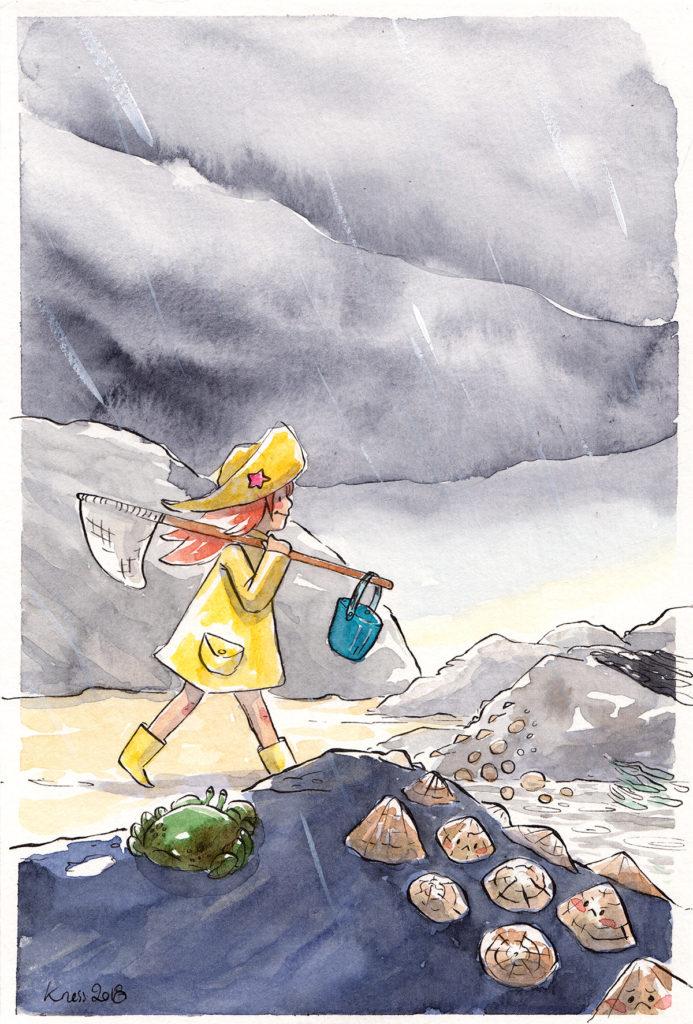 illustration souvenir d'enfance pêche a pied