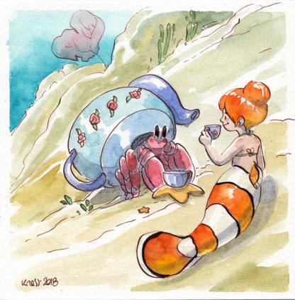 aquarelle sirene poisson clown