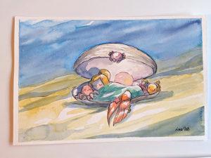 baby mermaid watercolor