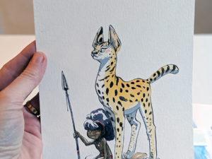 aquarelle enfant serval
