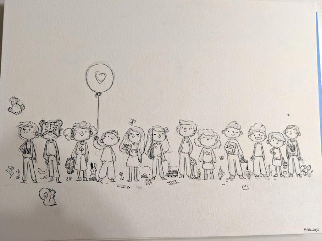 crayonné aquarelle enfants