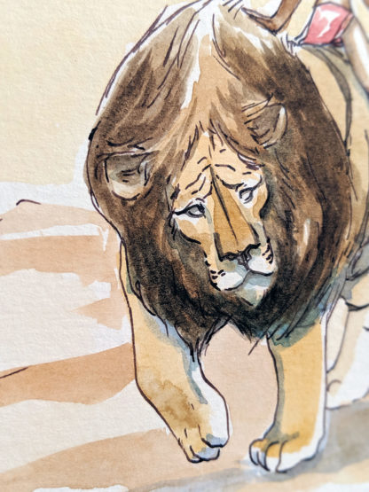 aquarelle enfant lion tigre