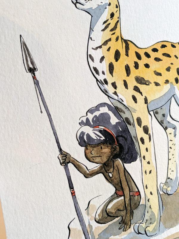 aquarelle enfant et serval