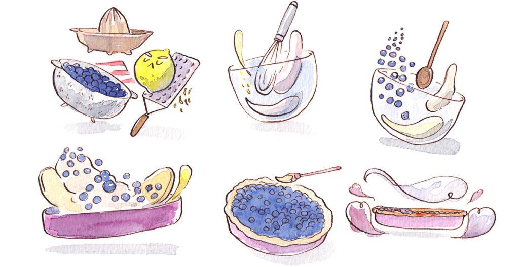 illustration cuisine - recette tarte aux myrtilles