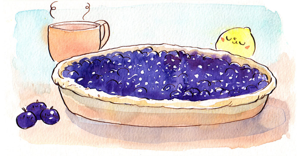 illustration cuisine - tarte myrtilles