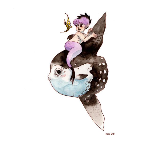 Aquarelle poisson lune et sirène