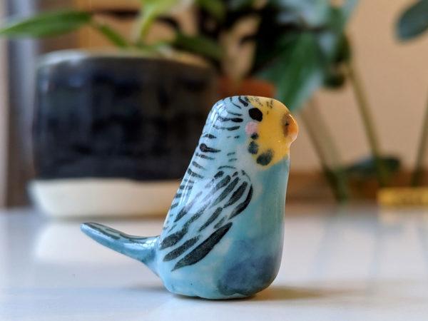 perruche bleue ceramique