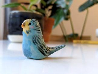 perruche bleue céramique