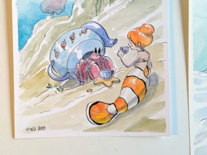 aquarelle sirene poisson clown