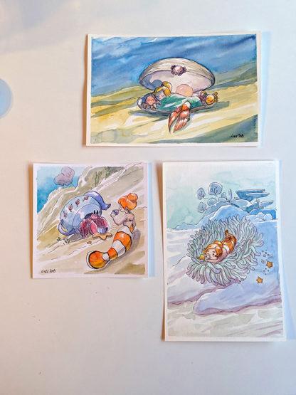 aquarelles 3 sirènes