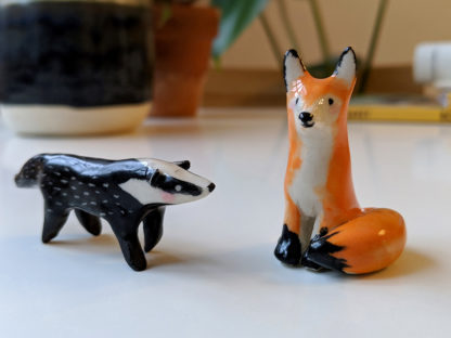 ceramic badger and fox friend
