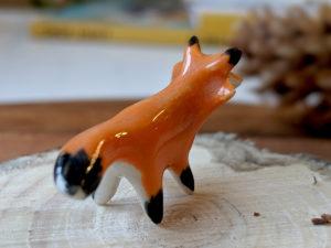 tiny red fox porcelain