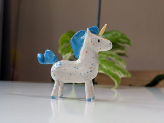 ceramic unicorn blue