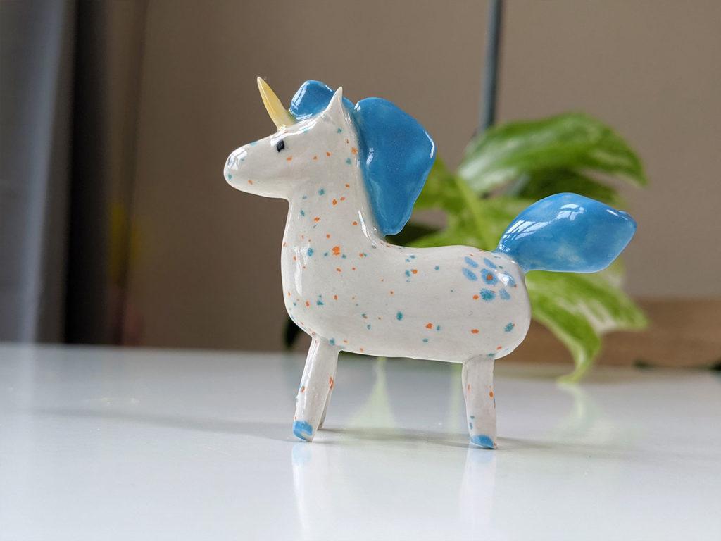 ceramic unicorn blue