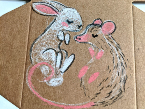 pendentif lapin oppossum porcelaine boite