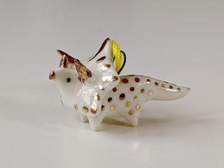 pendentif triceratops or porcelaine