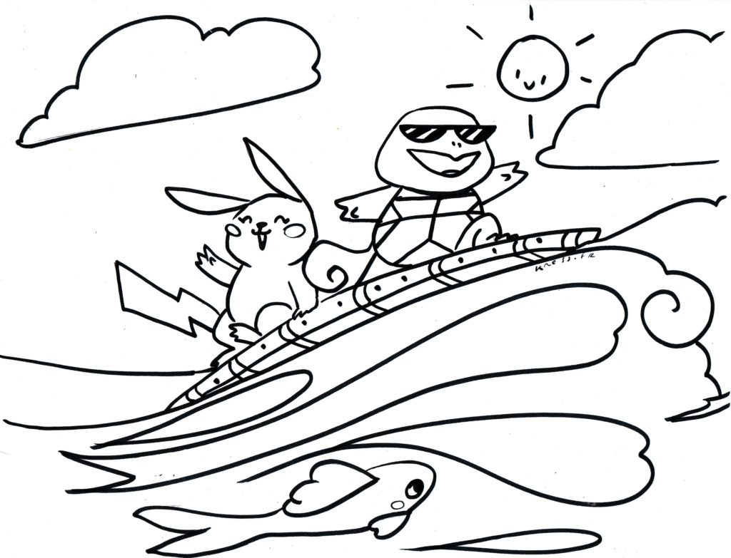 coloriage carapuce pikachu font du surf