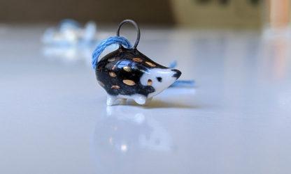 hedgehog pendant gold and ceramics