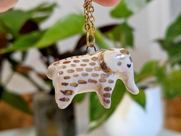 pendentif elephant or céramique