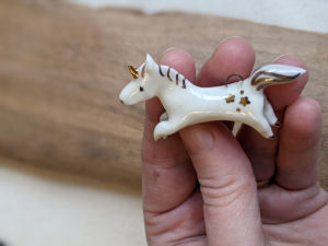 unicorn pendant lilac gold