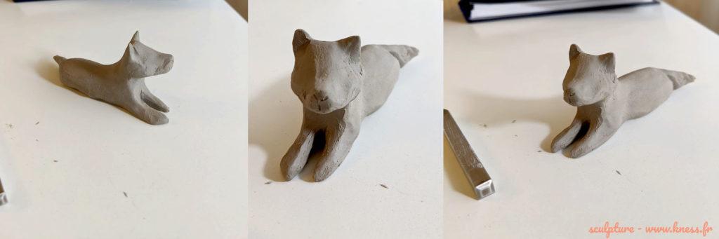 sculpture du  chien en porcelaine