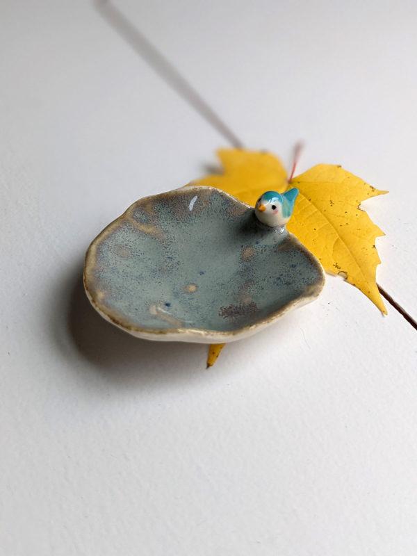 tiny jewelry tray bird porcelain