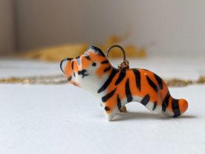 porcelain tiger pendant