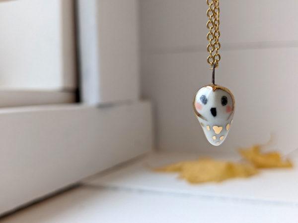 porcelain owl pendant