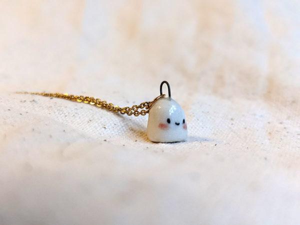 porcelain ghost pendant